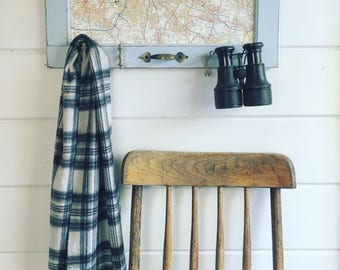 Vintage Map Wall Rack With Vintage Hooks and Hardware