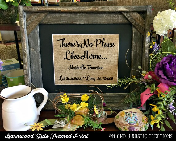 Framed No Place Like Home| Latitude Longitude | Family Name | Est Date | GPS Coodinates | City State | House Warming Gift | 8x10 |#0204
