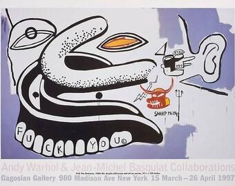 BASQUIAT/WARHOL - 'Collaborations' - original exhibition poster - c1997 (Gagosian Gallery, New York) x