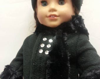 18 inch doll winter coat  5 piece set.  bitty baby wellie wishers with scarf mittens hat and booties comes in different colors