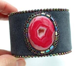 Hot Pink Druzy Onyx Cuff - Bohemian Cuff-Pink and Gray-Leather Boho Bracelet-Dark Gray Leather-Onyx Bracelet-Leather Bracelet