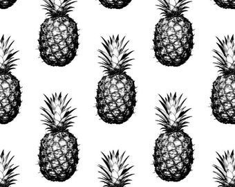 Fitted Cot/Crib Sheet - Pineapples Large Black and White - Made to Order