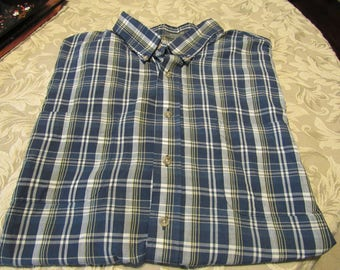 Men's Navy Blue, Yellow/Gold, and White Plaid Short Sleeve Button Up Shirt - Size 2XL