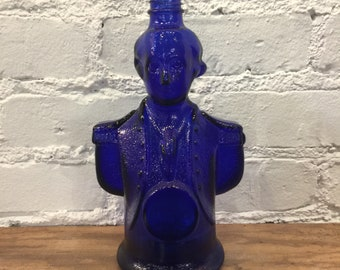 George Washington Cobalt Blue Liquor Bottle