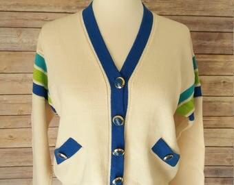 Varsity Style Cardigan Vintage 90's St John Marie Gray Small/Petite Button Down