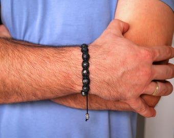 Mens bracelet , Labradorite bracelet , Beaded bracelet , Healing bracelet , Labradorite men , Boyfriend gift , For men , Shamballa