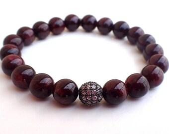 Garnet bracelet , Beaded bracelet , Healing bracelet , Gift for her , Garnet woman , Gift for girlfriend , Protection bracelet , Fertility