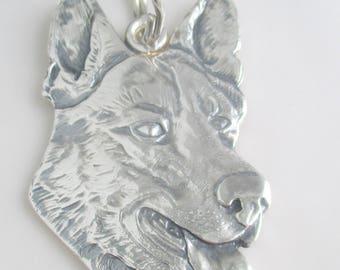 German Shepherd (Alsatian) solid sterling silver handmade designer keyring/keychain
