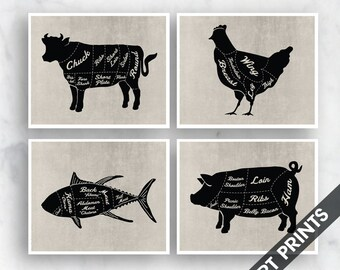 Beef, Chicken, Fish and Pork - Set of 4 - Art Prints (Featured in Black on Vintage Linen) Kitchen Prints