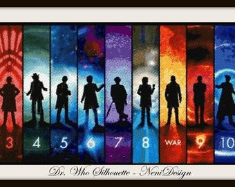 cross stitch pattern, cross stitch, Dr. Who Silhouette - NeniDesign - PDF pattern - instant download!