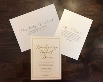 Gold, Ivory and Grey Friendsgiving Thanksgiving Invitation with Printed Guest Addresses & Envelope