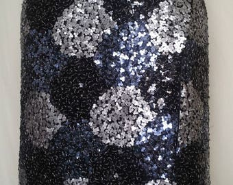 Sarong skirt chic oval sequin black, blue, silver clover pattern