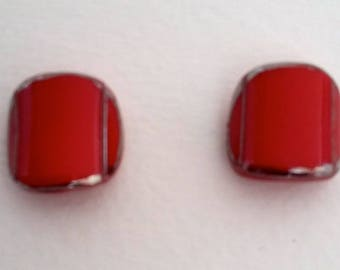 2 CERAMIC RED THREADED BUTTONS SILVER ART DECO