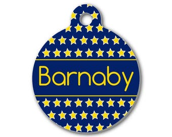 Personalized Round Pet ID Tag-Blue with Gold Stars Pattern | Custom Pet ID Tag | Dog Collar Name Tag | Double Sided