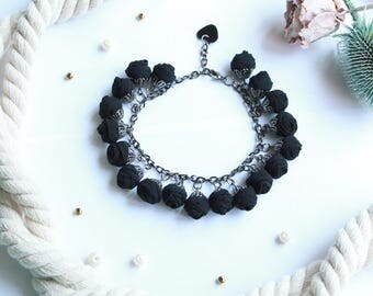 Fabric bracelet Rose bracelet Black fabric jewelry Flower bracelet Floral jewelry Clusters bracelet Friendship bracelet Textile bracelet