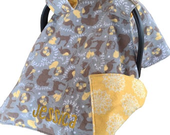 Personalized Woodland Car Seat Cover Baby Shower Gift Woodland Car Seat Canopy Woodland Carseat Cover Woodland Carseat Canopy Carseat Tent
