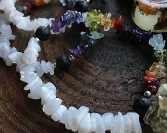 Rainbow Moonstone Chakra Bracelets