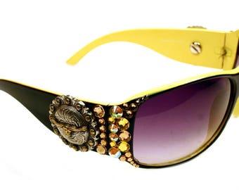 Longhorn Berry Concho w/ Swarovski Crystals Women Bling LADIES Sunglasses