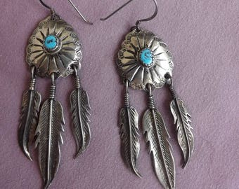 Sterling Native American Feather Earring With Turquoise