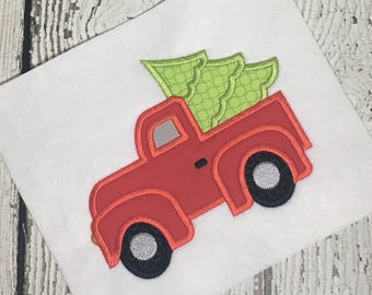 Truck applique - Christmas applique - holiday applique - applique design - embroidery design - Christmas tree applique