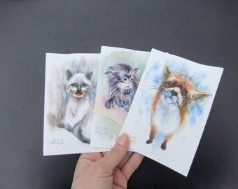 Original Watercolor Art Postcards,Set of 3,Kitten Monkey Foxkin