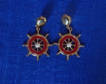 Avon Red Nautical Earrings, Ship Wheel Earrings