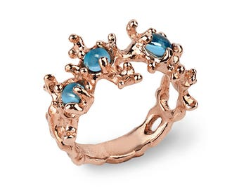BETWEEN the SEAWEEDS Swiss Blue Topaz Ring,Rose Gold Gemstone Ring, Unique Rose Gold Ring Band, Blue Topaz Engagement Ring