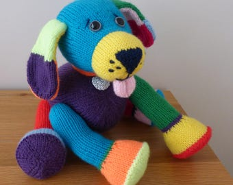 Toy puppy dog. Meet Jacob the puppy, hand knitted . Great gift, present idea. Unique one of a kind toy.