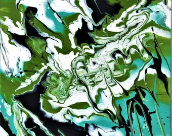 ACRYLIC PAINT POUR; original, one of a kind, 8 x 10 inch wrap around canvas, in sea blue, green and black, wall art