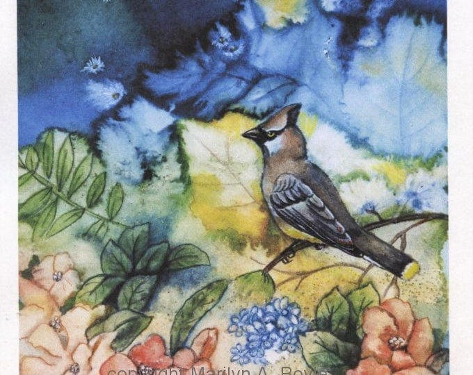 PRINT-CEDAR WAXWING; Fantasy garden, 10 x 7.25 inches, wall art, Canadian art, bird, on card stock, hand enhanced print,