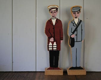 Wooden Postman and Milkman Characters Old School Resource Occupation Toys Christening Baby Shower Gift Room Decor Boy