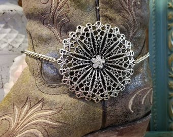 Boot Bracelet Boot Accessories Crystals Flower Filigree Bling with Chain Boot Jewelry