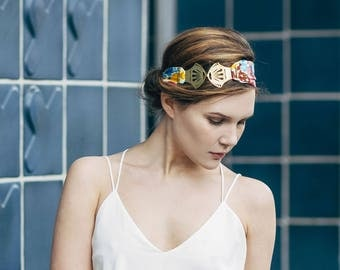 Head-band bohemian art deco fabric flowers blue, pink, burgundy, yellow