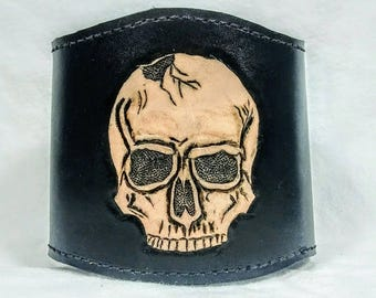 Skull n Latch II. Adustable leather cuff. Hand carved leather cuff.