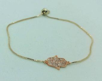 Rose Gold Hamsa Bracelet, Hamsa adjustable bracelet, rose gold bracelet, womens, baby and kids adjustable hamsa bracelet, rose gold jewelry