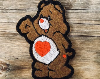 Tenderheart Care Bear 80s Embroidered Iron-on Patch