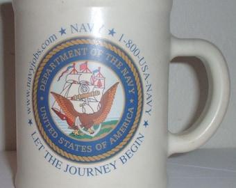 "USN US Navy ""Let the Journey Begin"" plastic coffee mug"