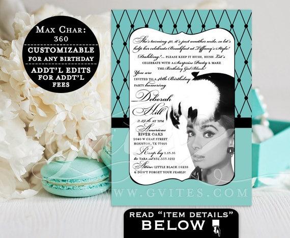Breakfast at invitations, party invites, 40th birthday invitation, Audrey surprise birthday party, customizable, PRINTABLE, 5x7 Gvites