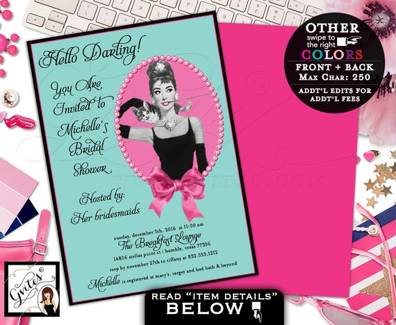 Breakfast at Tiffany's bridal shower, Audrey Hepburn custom invites, personalized digital wedding shower invitation, double sided, 5x7.
