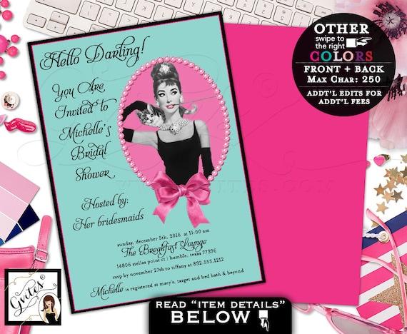 Breakfast at Tiffany's bridal shower, Audrey Hepburn custom invites, personalized digital wedding shower invitation, double sided, 5x7.