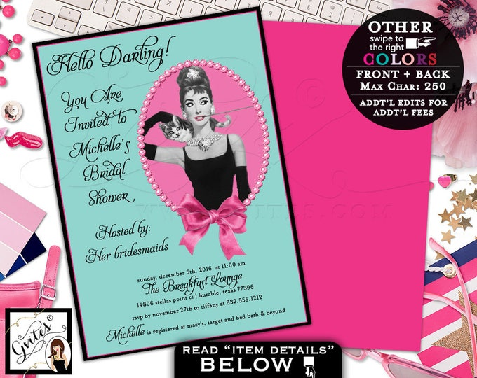 Breakfast at bridal shower, Audrey Hepburn custom invites, pink and blue, personalized digital wedding shower invitation, double sided, 5x7.