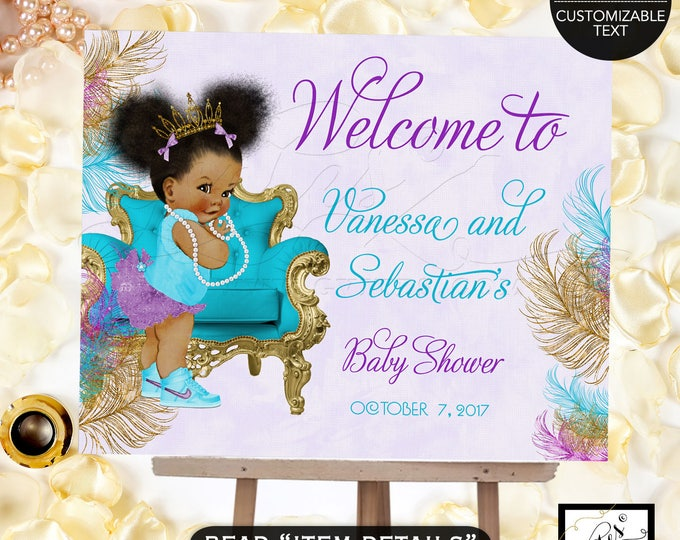 Welcome Sign Teal Purple & Gold Baby Shower Invitation, African American baby girl baby shower, tiara, princess, ribbons bows PRINTABLE