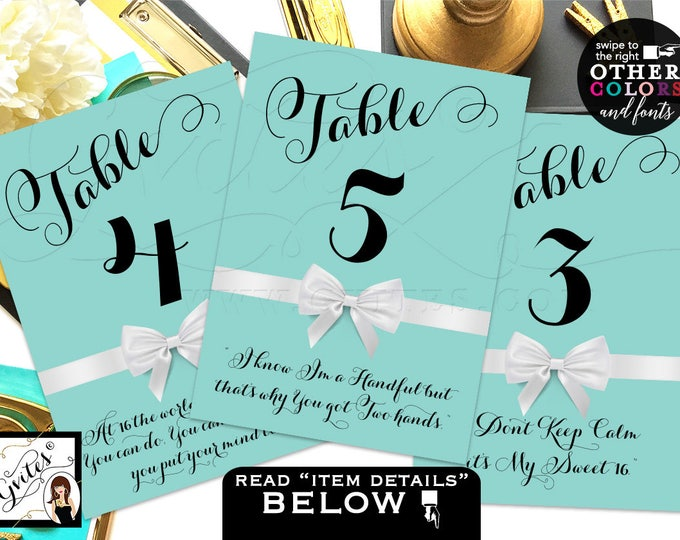 Table Numbers with quotes, weddings, sweet 16, birthday, party decorations, printable, customizable text & colors. DIGITAL FILE! 4x6 or 5x7.