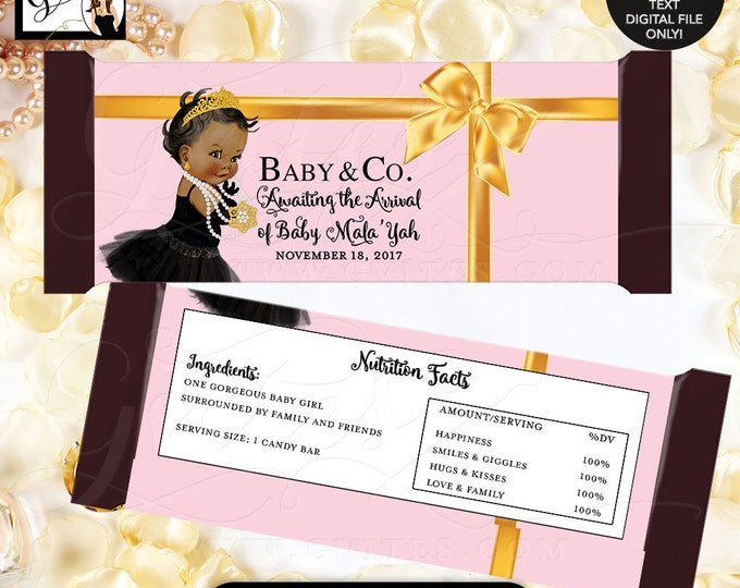 Pink and Gold Candy Bar Wrapper, Baby and Co party favors, labels, candy bar wrapper, digital printable, gold and pink, princess BABY SHOWER