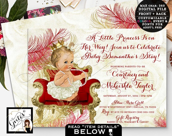 Red and Gold Baby Shower, Princess invitations, A little Princess is on her way, Vintage, Cream Ivory, Beige Gold 7x5 Double Sided.