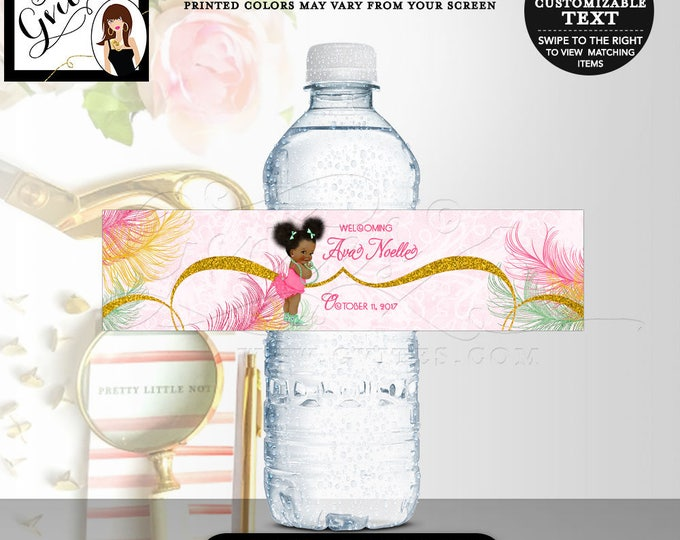 "Water bottle labels, baby shower mint green pink and gold party decorations, stickers, favors gifts. 8x2""/5 Per Sheet. Digital File Only!"