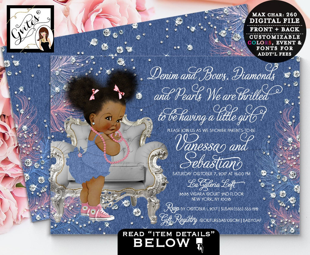Denim And Diamonds Baby Shower Invitation, Denim Bows Ribbons And Pearls,  African American Girl, Pink And Blue, Digital File, Double Sided.