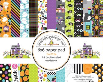 """Doodlebug Design 6""""x6"""" Paper Pad -Booville -24 Sheets Double-sided -Halloween/ Booville/Scrapbook/ Card-making / Holidays/trick treat/ Ghost"""