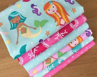 MER-MATES Fat Quarter Bundle E Michael Miller Quilting Fabric Pink Blue Mermaid Sea