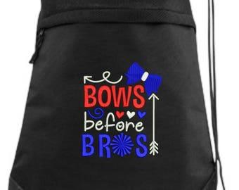 Embroidered Cheer Drawstring Bag/ Embroidered Cheer Bag/ Bows Before Bros Cheer Bag/ Cheer Cinch Drawstring Bag/ Embroidered Bag